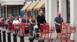 Shoppers waiting in line